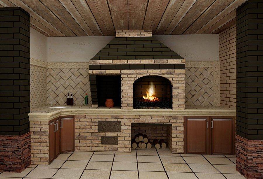 Летняя кухня с камином фото своими руками 13