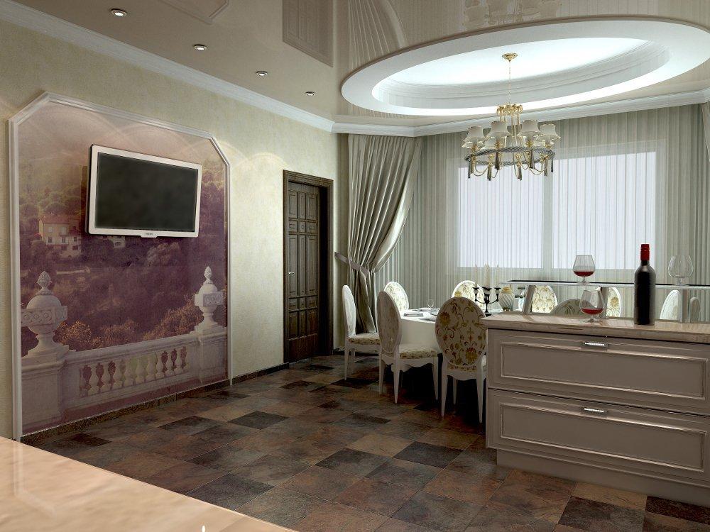 Дизайн гостиной с кухней и камином
